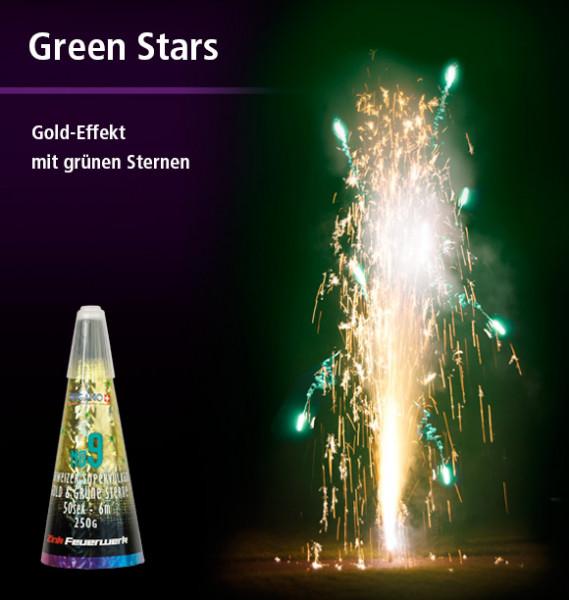 Zink Vulkan gold & grüne Sterne No.9